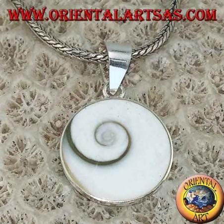 Silver pendant eye of Saint Lucia shell Astraea rugosa