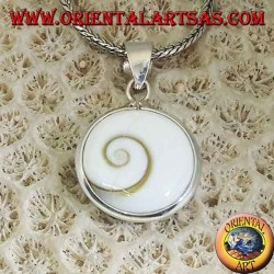 Silver pendant double sided eye of Saint Lucia, Astraea rugosa shell