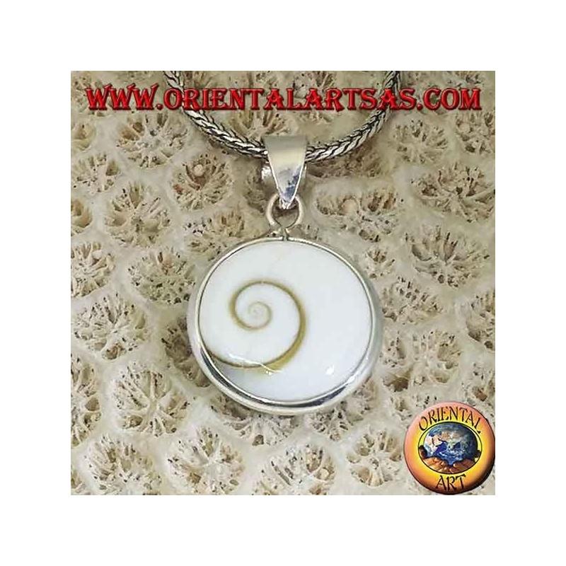 Silver pendant double sided eye of Saint Lucia, Astraea rugosa shell