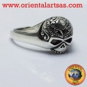 Anello Teschio tatuato in argento