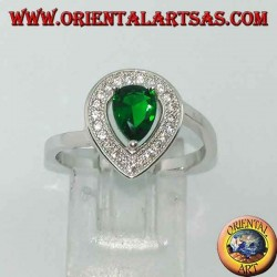 Silver ring with synthetic drop emerald surrounded by zircons
