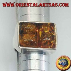 Rectangular silver ring with three rectangular amber
