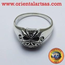 Anello Teschio tatuato in argento