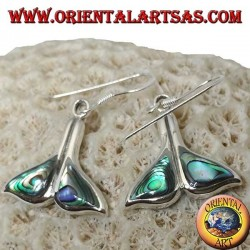 Silver whale tail earrings with paua shell (Haliotis iris)