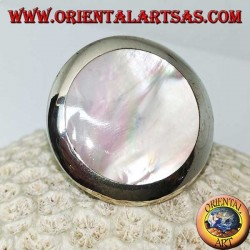 Silver ring with round mother of pearl (large)