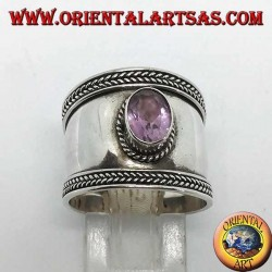 Wide silver ring with oval amethyst, Bali