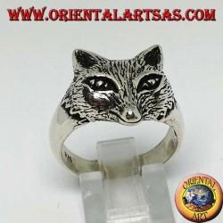 Anello in argento con testa di volpe