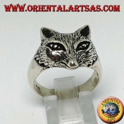 Silver ring with fox head
