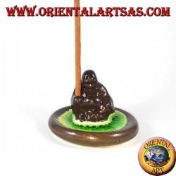 Brûle encens Bouddha de la richesse en céramique marron