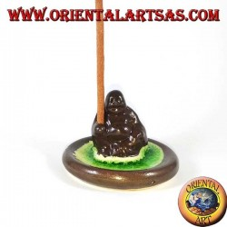 Burn incense Buddha of wealth in brown ceramic