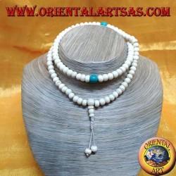 Mālā rosario buddista da 108 Grani da 8 mm. in osso di Yak e turchese