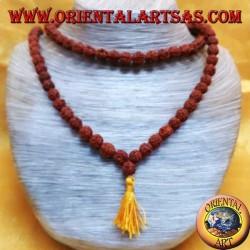 Mālā bouddhiste 108 perles 9 mm. en graines de Rudra rouges