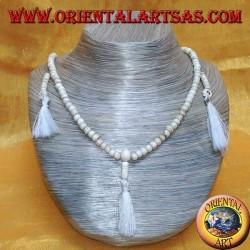 Mālā (Japamālā) Buddhist 108 beads 6.5mm rosary. in Yak bone with 3 tufts