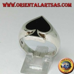 Silver ring, Ace of Spades with black resin synthetic onyx