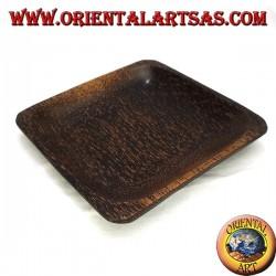 Svuotatasche vassoio, quadrato da 15 cm in legno di cocco