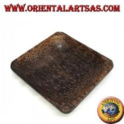 Svuotatasche vassoio, quadrato da 12 cm in legno di cocco