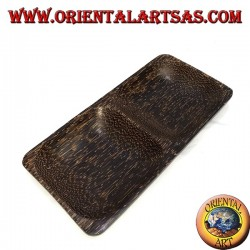 Double tray rectangular tray in coconut wood