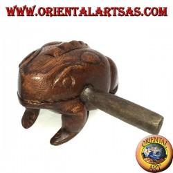 Rana canterina (suonabile) grande in legno di suar