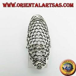 Anello in argento traforato a forma di ellisse allungato