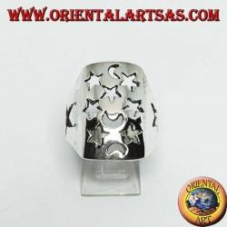 Anello in argento rettangolare traforato con stelle e lune