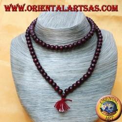 Mālā (Japamālā) rosario buddista da 108 Grani da 8 mm. in legno di rosa bordeaux