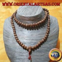 Mālā (Japamālā) rosario buddista da 108 Grani da 8 mm. in semi di Ritu o Raktu e fili rossi