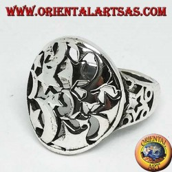 Round openwork silver ring with stars and moons