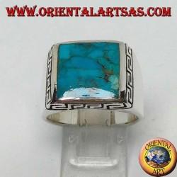 Серебряное кольцо с натуральной квадратной бирюзой в окружении греческой гравюры (22)