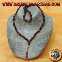 Mālā (Japamālā) Buddhist rosary with 108 Grains of 6 mm. in brown rose wood