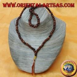 Mālā (Japamālā) rosario buddista da 108 Grani da 6 mm. in legno di rosa marrone