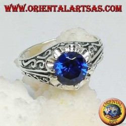 Inlaid silver ring with embedded sapphire zircon