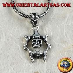 Silver pendant Mobile skull