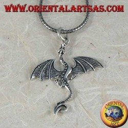 Silver pendant, large Celtic basilisk dragon