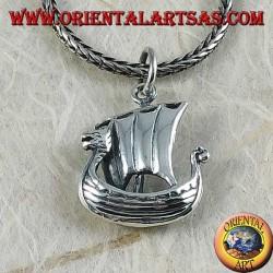 Ciondolo in argento, nave a vela Vikinga