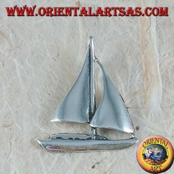 Silver pendant, medium sailboat