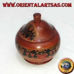 hand-painted jewelry box in mahogany wood from Lombok (red, big)