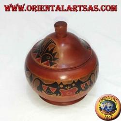 шкатулка ручной работы из красного дерева Ломбок (красная, большая)