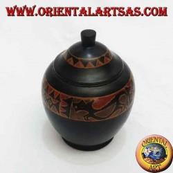 шкатулка ручной работы из красного дерева Ломбок (черная, большая)