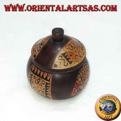 Boîte à bijoux en bois d'acajou peinte à la main Lombok (brun foncé, grand)