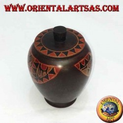 Hand painted jewelry box made of elongated Lombok mahogany (brown, large)
