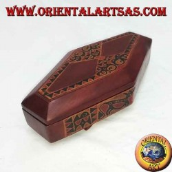 Hand-painted jewelry box made of rhombic Lombok mahogany (red, small)