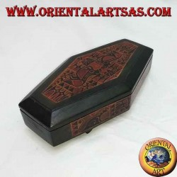 Hand-painted jewel case in rhombus Lombok mahogany (green, large)