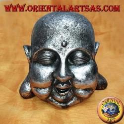 Testa di Buddha argentata (grande) in resina