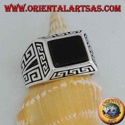 Silver ring with rectangular onyx, surrounded by Greek reliefs