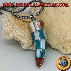Ciondolo in argento, corno di Turchese Tibetano e madreperla con corallo naturale