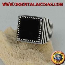 Silver ring with large square onyx, striped on the sides
