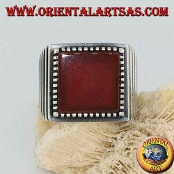 Silver ring with large square carnelian, striped on the sides