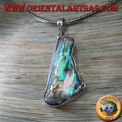 Irregular shaped pendant in silver with paua shell (abalone)