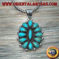 Pendentif en argent, bouclier avec turquoise indigène (Indiens d'Amérique)
