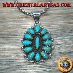 Silver pendant, shield with native turquoise (American Indians)